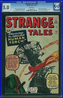 Cgc (marvel) Strange Tales 101 (start Of Superhero Run 1st) 5.0 Vg/fn 1962