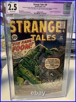 STRANGE TALES #89 1st Appearance FIN FANG FOOM CGC 2.5 Restored OW Pages! MCU