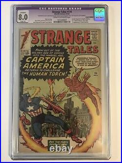 Strange Tales 114 CGC 8.0 RESTORED 1st Silver Age Captain America! Lee Kirby