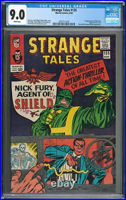 Strange Tales #135 CGC 9.0 White Pages 1st Nick Fury Agent of SHIELD key
