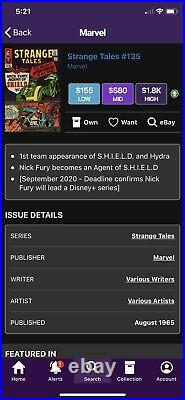 Strange Tales #135 Key 1st App / Origin Of Shield And Col. Nick Fury 1965